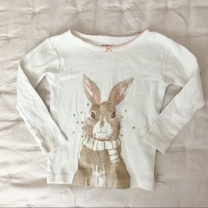 Carters White Long Sleeve Rabbit Graphic Tee